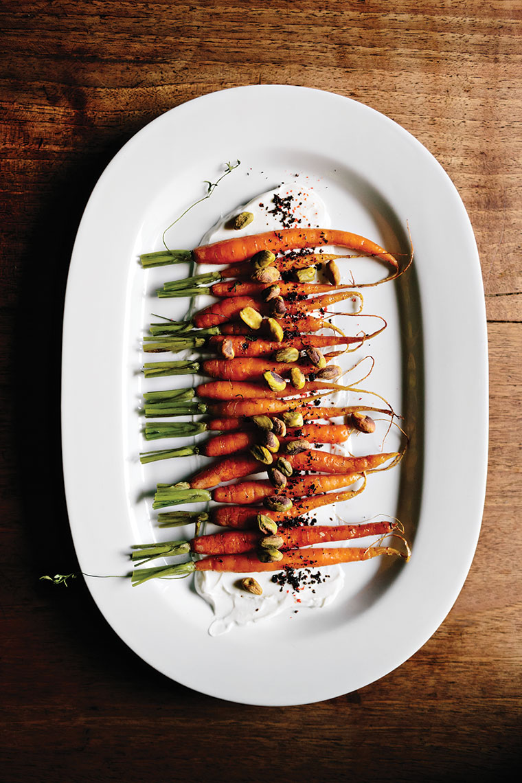 Roasted carrots with yogurt and pistachios