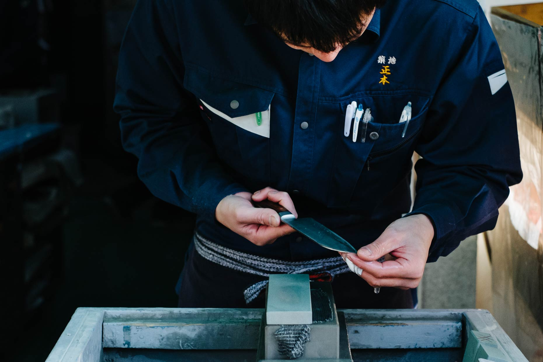 Kristin Teig Photography | Knife sharpening - Tsukiji